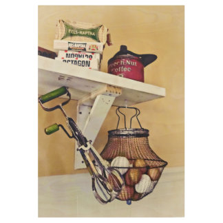 Wire Basket Of Eggs And Egg Beater Wood Poster
