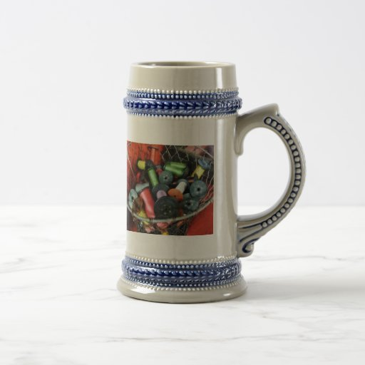 Wire Basket With Thread Coffee Mugs