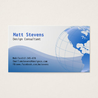 Wire Blue Globe Americas Business Card
