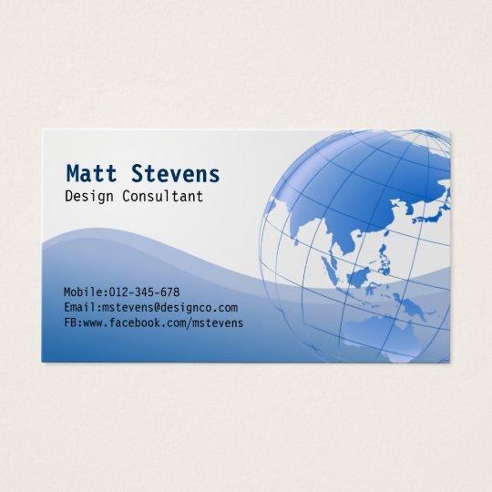 Wire Blue Globe Asia Australia Business Card