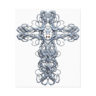 Wire Cross with Miraculous Medal Canvas Print