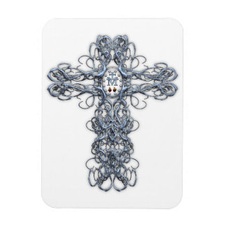 Wire Cross with Miraculous Medal Rectangular Photo Magnet