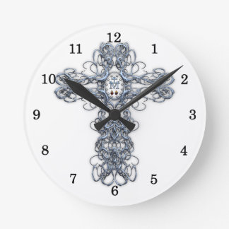 Wire Cross with Miraculous Medal Round Clock