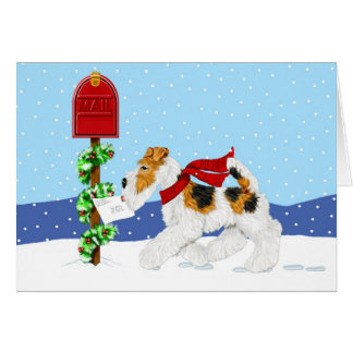 Wire Fox Christmas Mail Greeting Card