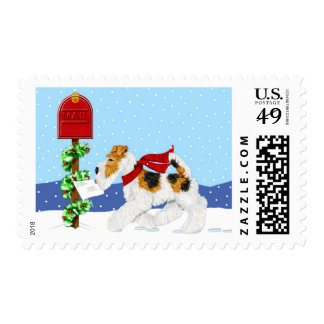 Wire Fox Christmas Mail Postage Stamp