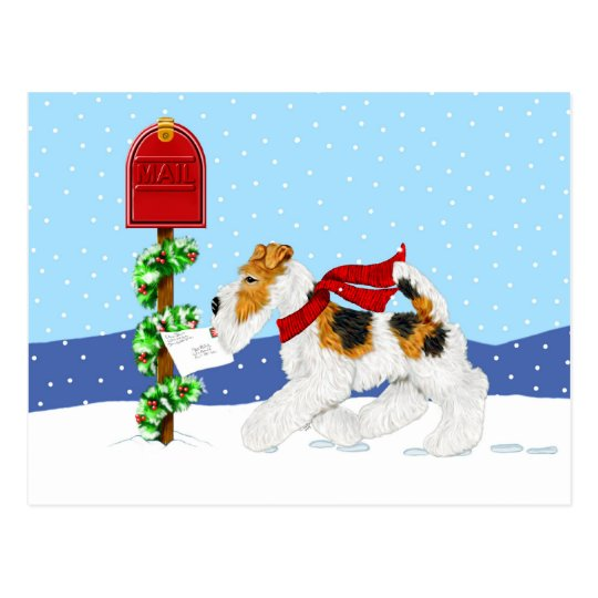 Wire Fox Christmas Mail Postcard