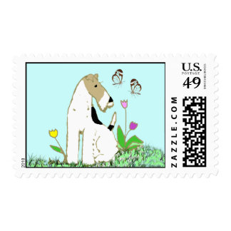 Wire Fox Terrier and Butterflies Stamps