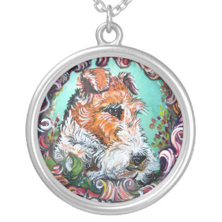 Wire Fox Terrier Antique Portrait Round Pendant Necklace
