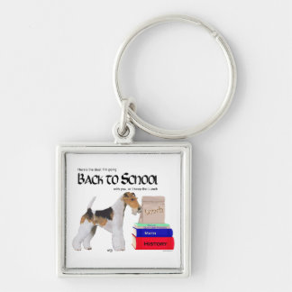 Wire Fox Terrier Back to School Silver-Colored Square Keychain