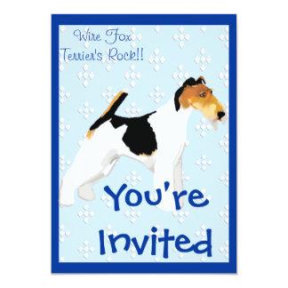 Wire Fox Terrier - Blue w/ White Diamond Design Card