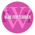 Wire Fox Terrier Breed Monogram Classic Round Sticker