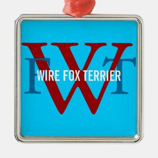Wire Fox Terrier Breed Monogram Christmas Tree Ornaments