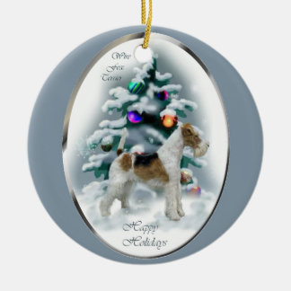 Wire Fox Terrier Christmas Gifts Ceramic Ornament