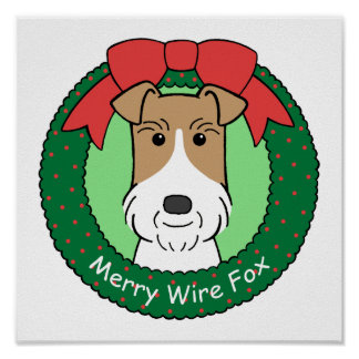 Wire Fox Terrier Christmas Poster