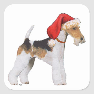 Wire Fox Terrier Christmas Square Sticker