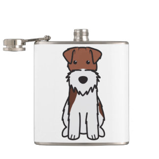 Wire Fox Terrier Dog Cartoon Flask