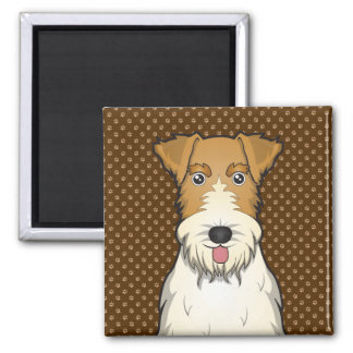 Wire Fox Terrier Dog Cartoon Paws Fridge Magnets