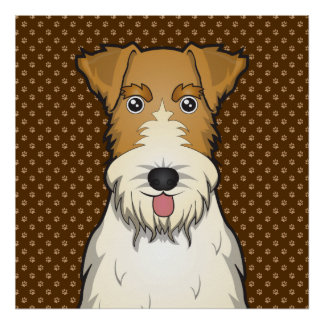 Wire Fox Terrier Dog Cartoon Paws Poster
