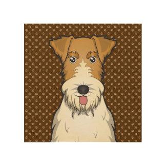 Wire Fox Terrier Dog Cartoon Paws Wood Wall Art
