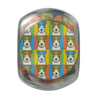 Wire Fox Terrier Dog Cartoon Pop-Art Glass Candy Jar