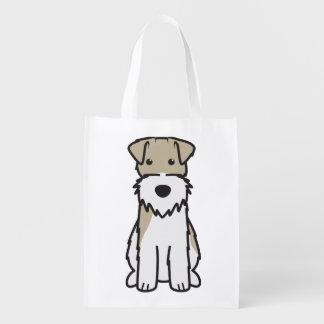 Wire Fox Terrier Dog Cartoon Reusable Grocery Bag