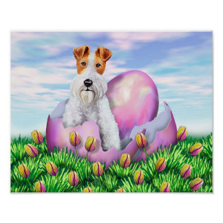 Wire Fox Terrier Easter Poster
