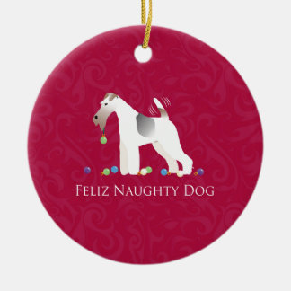 Wire Fox Terrier Feliz Naughty Dog Christmas Ceramic Ornament
