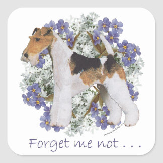 Wire Fox Terrier Forget-Me-Not Square Stickers