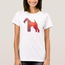 Wire Fox Terrier Geometric Pattern Silhouette T-Shirt