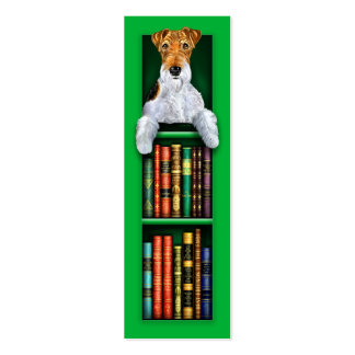 Wire Fox Terrier Green Bookmark Double-Sided Mini Business Cards (Pack Of 20)