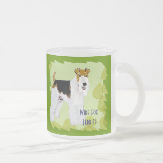 Wire Fox Terrier - Green Leaves Design Frosted Glass Coffee Mug