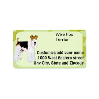 Wire Fox Terrier - Green Leaves Design Address Label