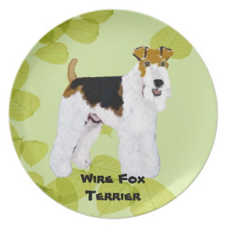 Wire Fox Terrier - Green Leaves Design Plate