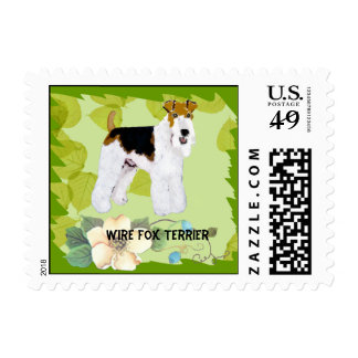 Wire Fox Terrier - Green Leaves Design Postage Stamp