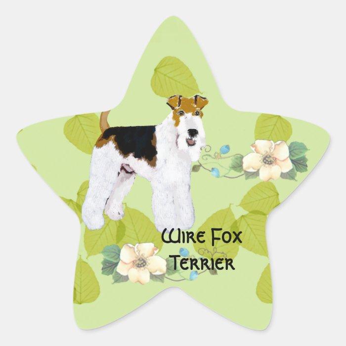 Wire Fox Terrier - Green Leaves Design Star Sticker