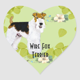 Wire Fox Terrier - Green Leaves Design Stickers