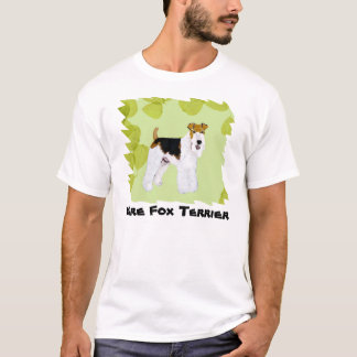 Wire Fox Terrier - Green Leaves Design T-Shirt