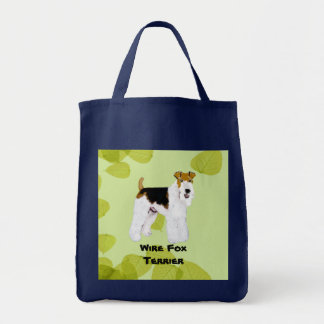Wire Fox Terrier - Green Leaves Design Tote Bag