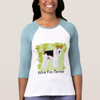 Wire Fox Terrier - Green Leaves Design Shirts
