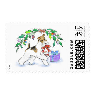 Wire Fox Terrier Holiday Postage Stamp