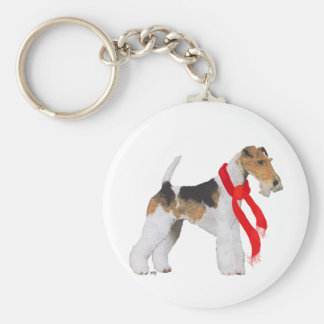 Wire Fox Terrier in a Scarf Keychain