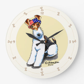 Wire Fox Terrier in America Large Clock