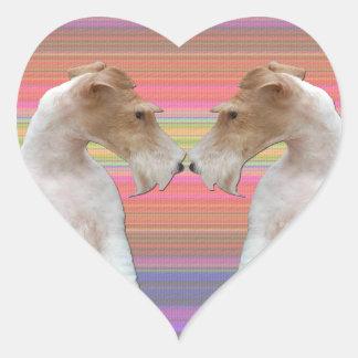 Wire Fox Terrier in Love Heart Sticker
