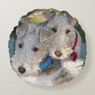 Wire Fox terrier Love Round Pillow