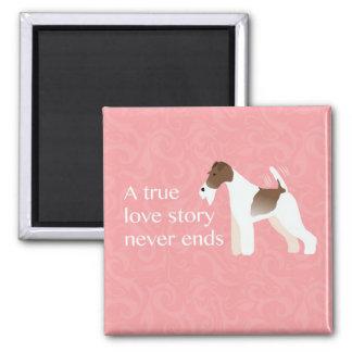 Wire Fox Terrier Minimalist Silhouette Design 2 Inch Square Magnet