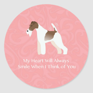 Wire Fox Terrier Minimalist Silhouette Design Classic Round Sticker