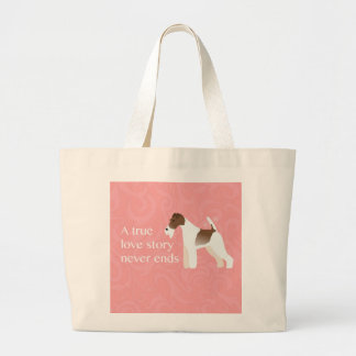 Wire Fox Terrier Minimalist Silhouette Design Large Tote Bag