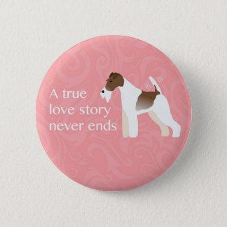 Wire Fox Terrier Minimalist Silhouette Design Pinback Button