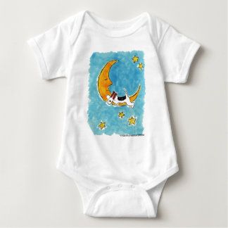 Wire fox terrier on the moon baby bodysuit