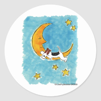 Wire fox terrier on the moon classic round sticker